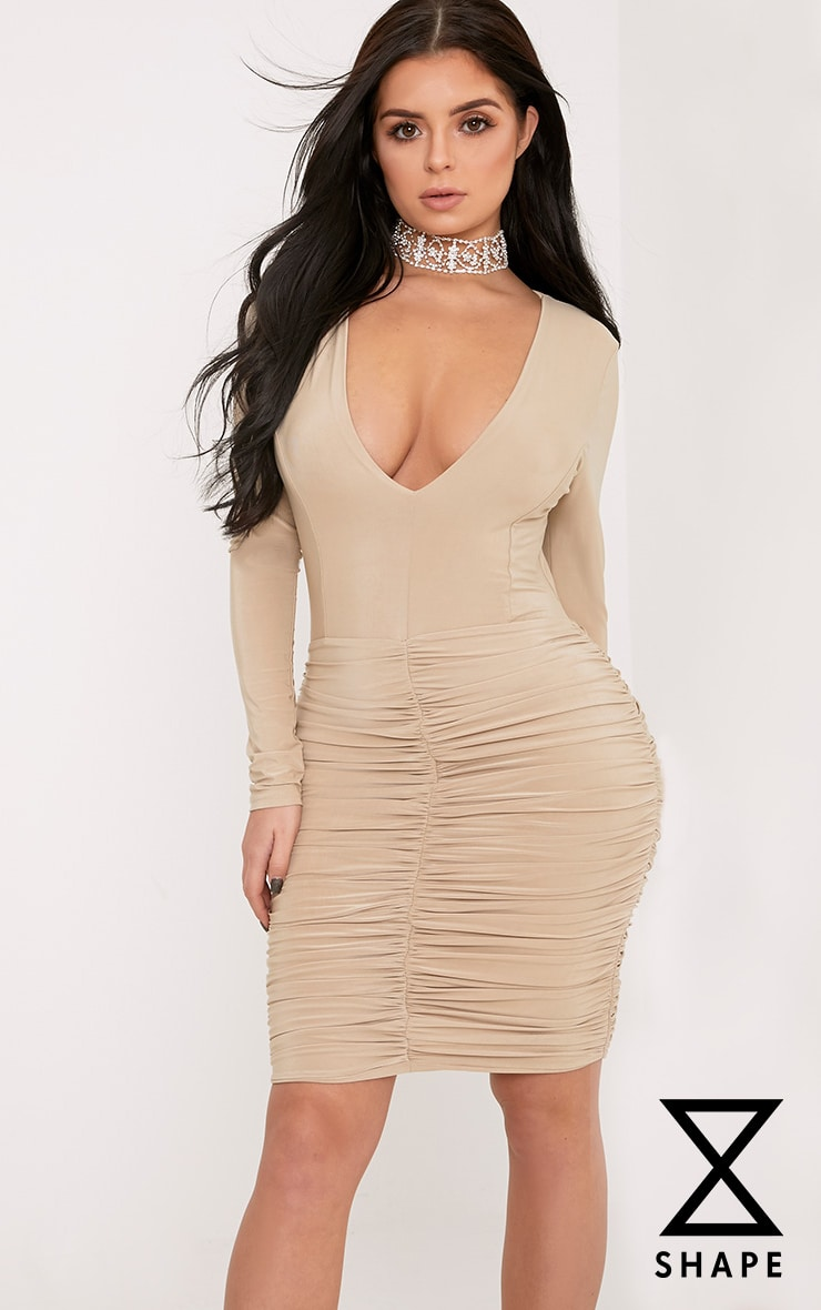 23796ebe946 Shape Alyssah Nude Slinky Ruched Mini Dress - FLAVOURMAG