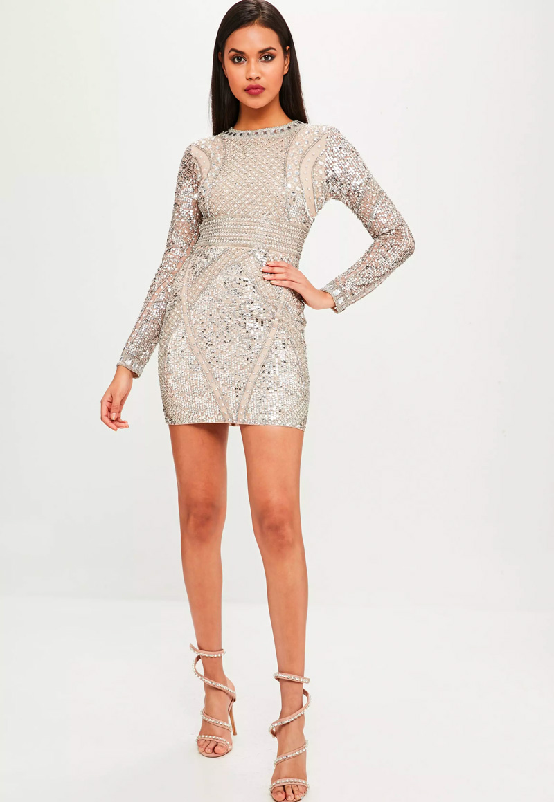 carli bybel x missguided nude embellished mini dress
