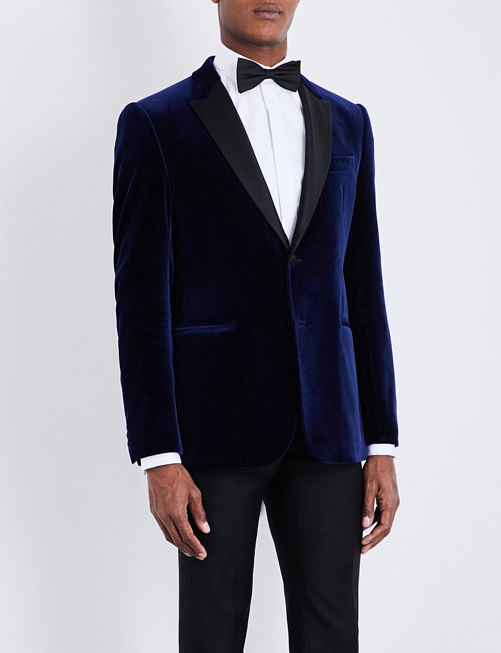ARMANI COLLEZIONI M-line peak-lapel velvet jacket