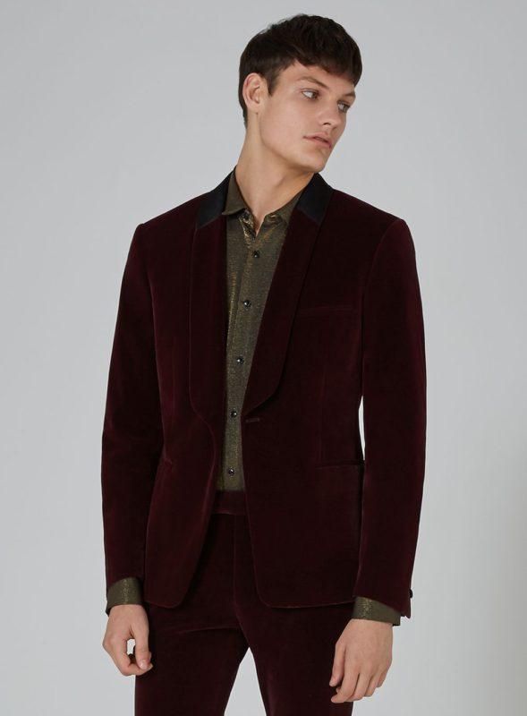 Burgundy Velvet Skinny Tuxedo Jacket