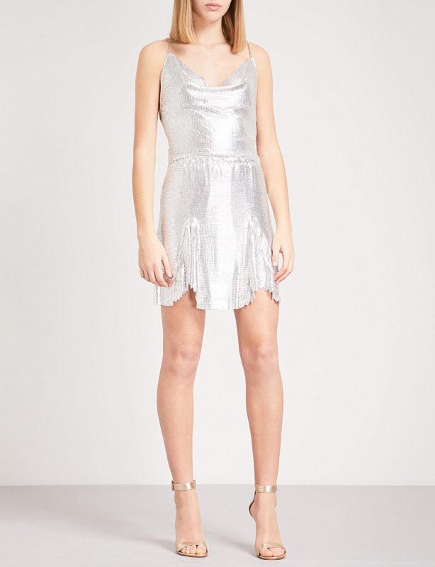 Calypso flared metal-mesh skirt