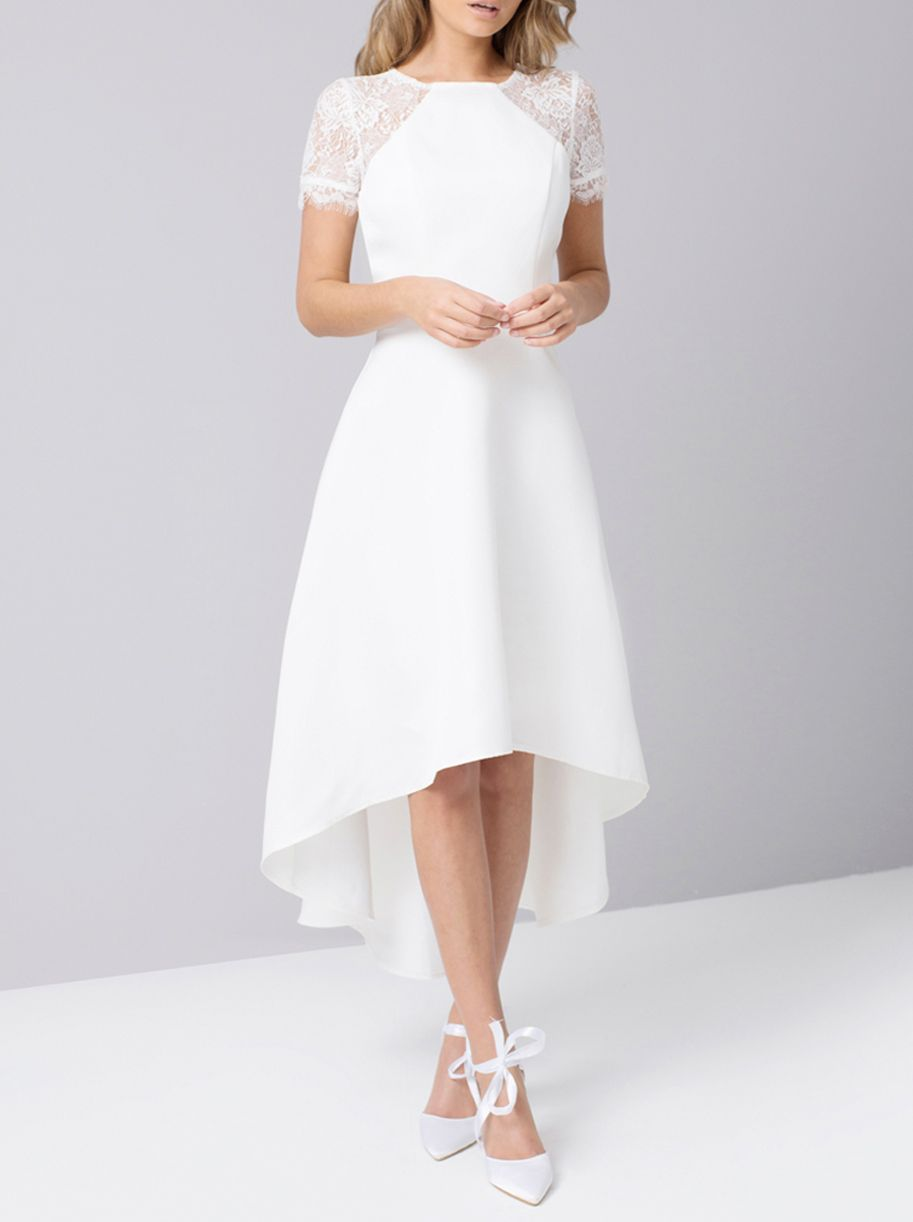 Chi Chi London Lace Panel Dip Hem Dress