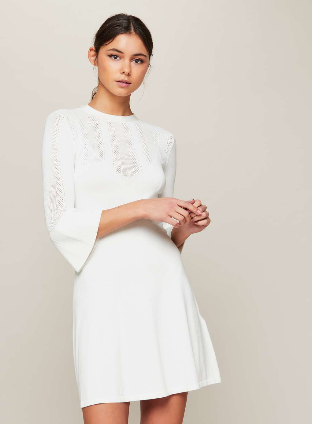Cream Fit and Flare Knitted Dress