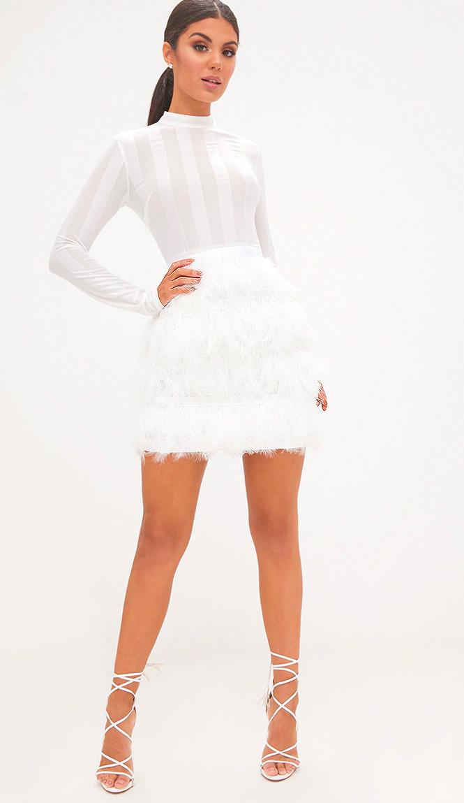 Fawn White Feather Skirt Bodycon Dress