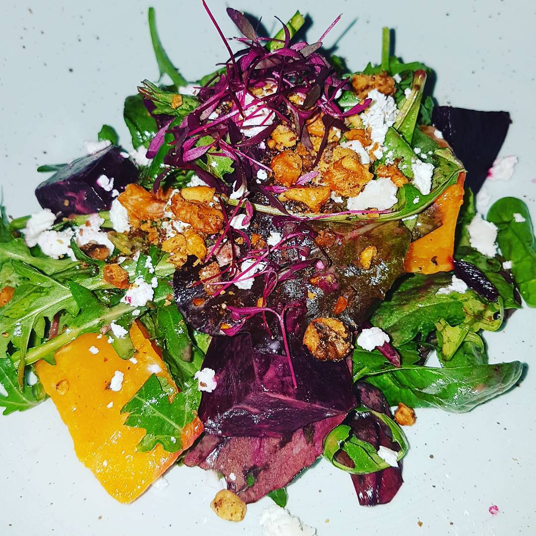 Goat's cheese, roast beetroot, pumpkin, toasted walnut salad