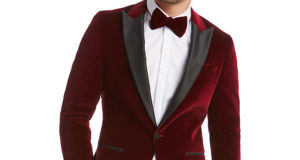 HUGO by Hugo Boss Chadly Velvet Slim Fit Dress Jacket, Dark Red