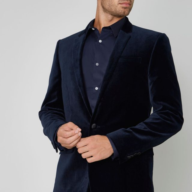 Navy skinny fit velvet suit jacket