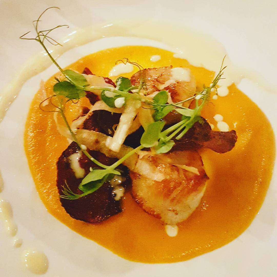 Seared West Coast scallops, carrot puree, beetroot & parsnip crisps
