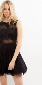 AX Paris Black Crochet Lace Skater Dress New Look
