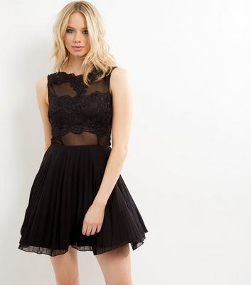 AX Paris Black Crochet Lace Skater Dress New Look