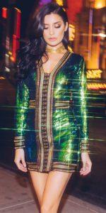 Anisha Green Premium Embellished Sequin Bodycon Dress
