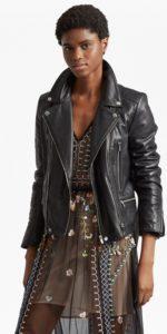 Clare Leather Biker Jacket - black