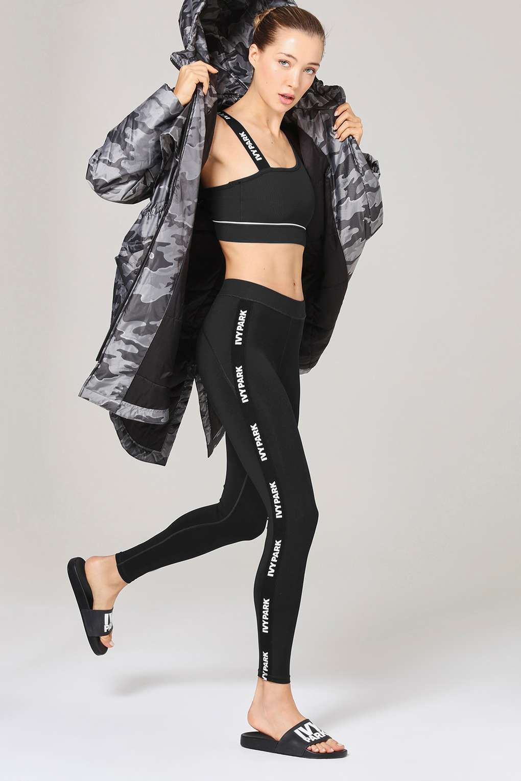 Womens Ribbed Mid Rise Ankle Legging by Ivy Park - Black, Black