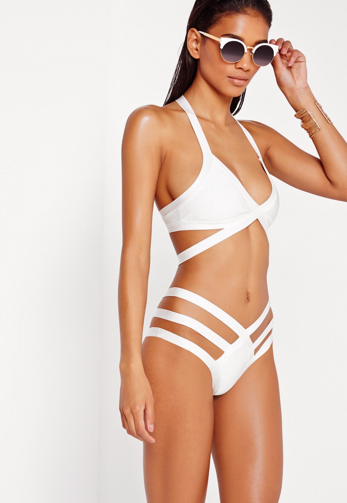 strstrappy bandage plunge bikini