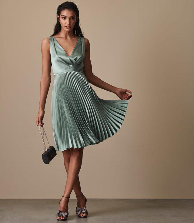 Alicia Knife-Pleat Midi Dress