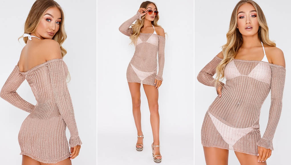 JACINTA ROSE GOLD METALLIC RIBBED BARDOT LONG SLEEVE MINI DRESS 1
