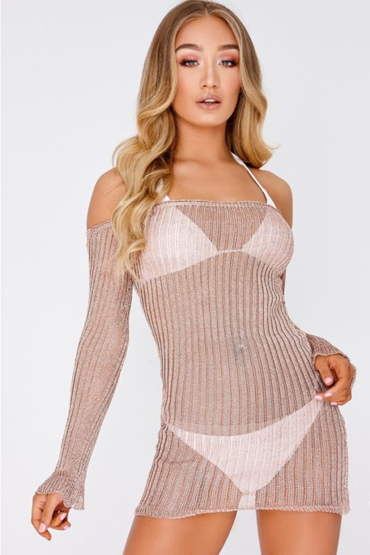 JACINTA ROSE GOLD METALLIC RIBBED BARDOT LONG SLEEVE MINI DRESS