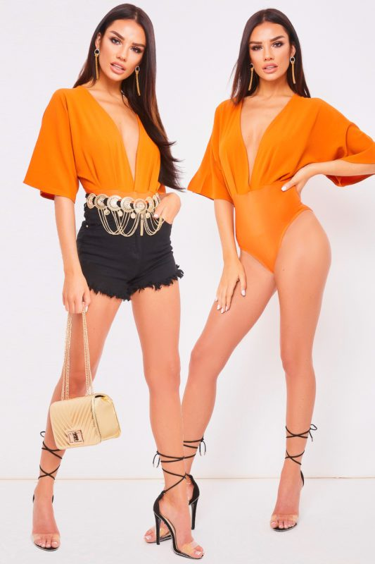 bryoni burnt orange deep v wide sleeve plunge bodysuit