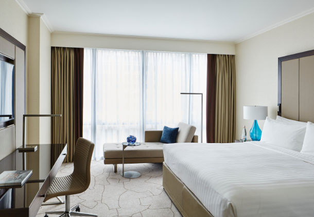 Executive guest rooms at the London Marriott Hotel.