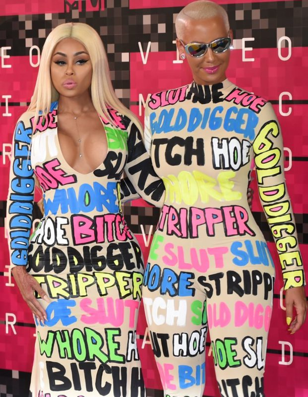 Amber Rose and Blac Chyna wearing words they've been called