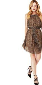Guess Marciano Animalier Silk Dress