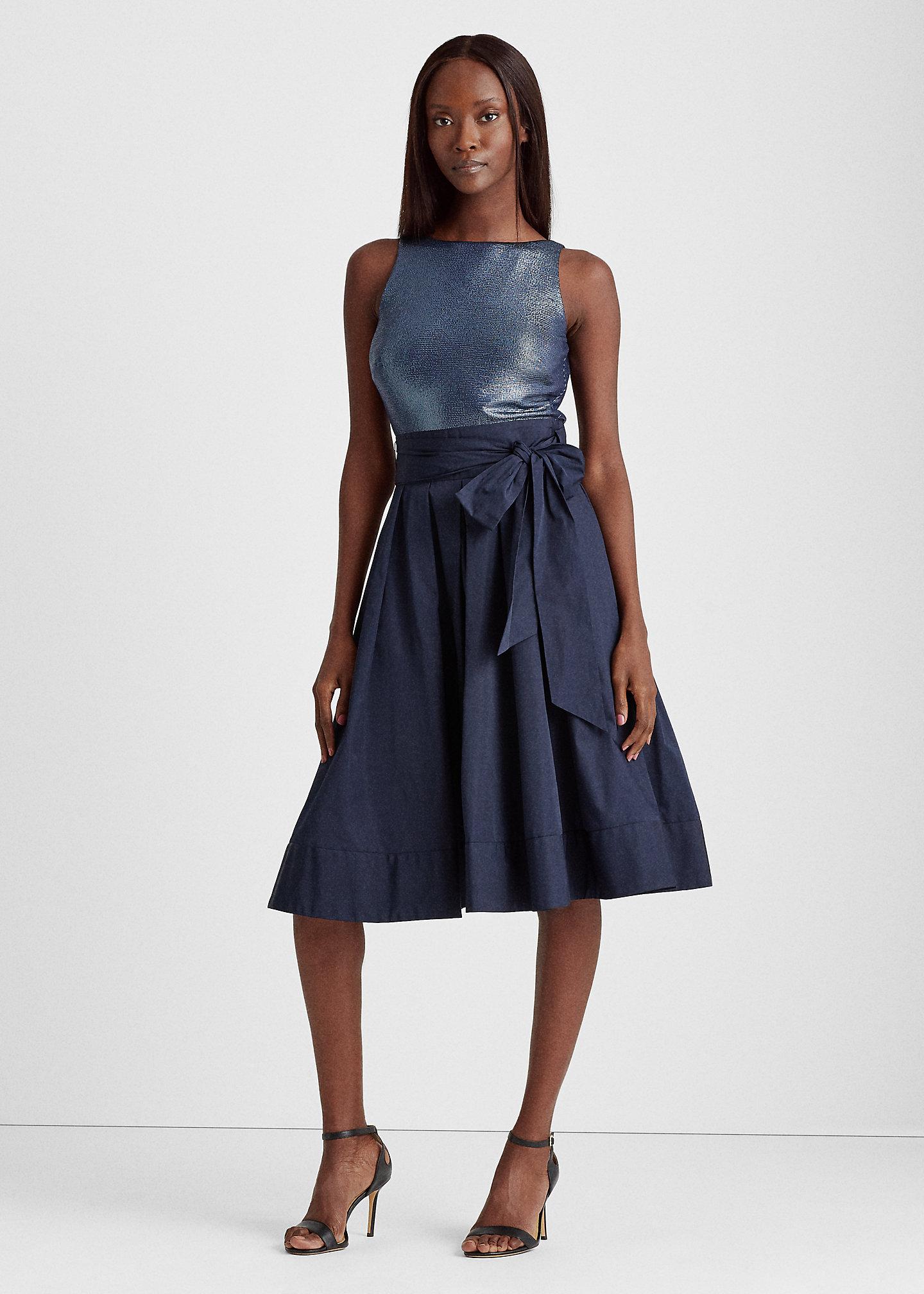Lauren Sleeveless Taffeta Dress