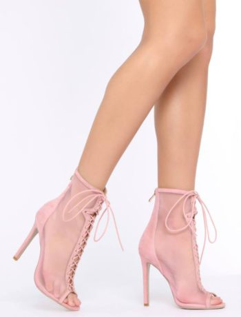 Pink Lace Up Peeptoe Mesh Booties
