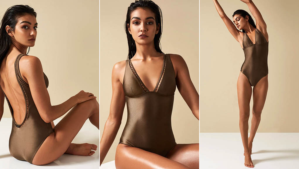 Reiss -Sacha Low Back Swimsuit Khaki