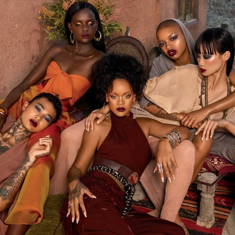 Joined by models Duckie Thot, Asianna Scott and Slick Woods, Rihanna fronts Fenty Beauty Moroccan Spice campaign