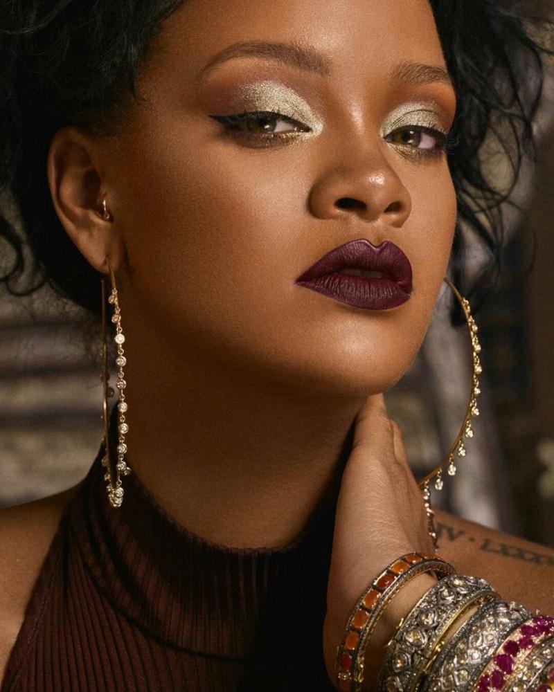 Rihanna rocks shimmering eyeshadow in Fenty Beauty Moroccan Spice campaign