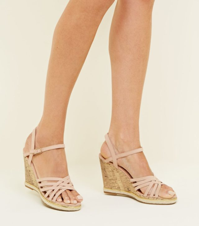 Wide Fit Cream Cross Strap Wedges £27.99