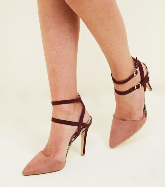 Wide Fit Pink Colour Block Double Ankle Strap Stilettos £22.99