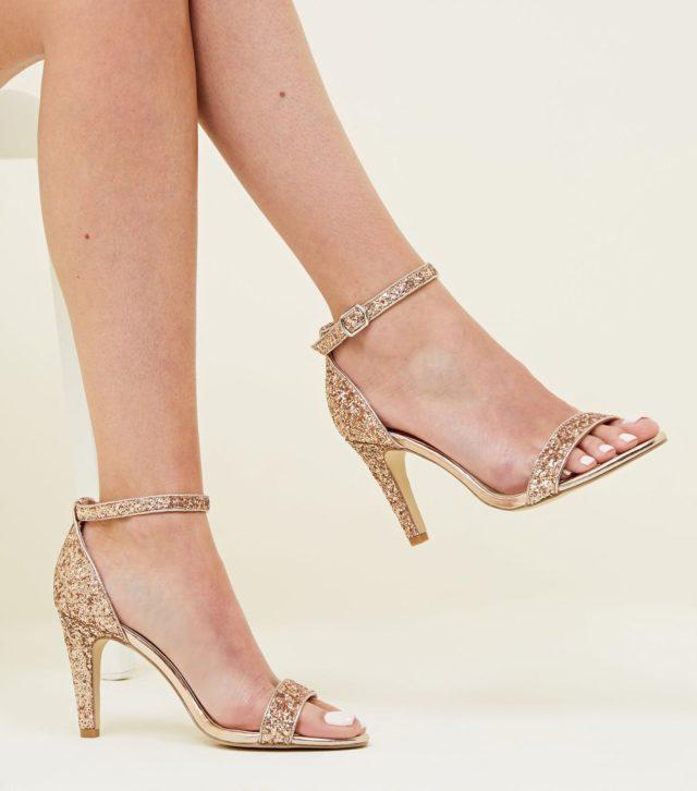 Wide Fit Rose Gold Glitter Ankle Strap Heels £22.99
