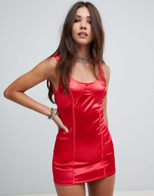 asos Motel halloween structured bodycon dress in satin