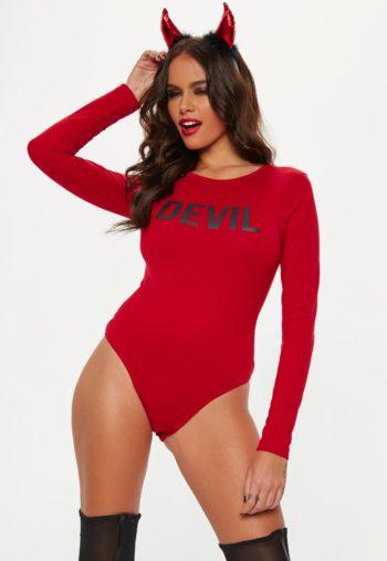 halloween red devil slogan bodysuit