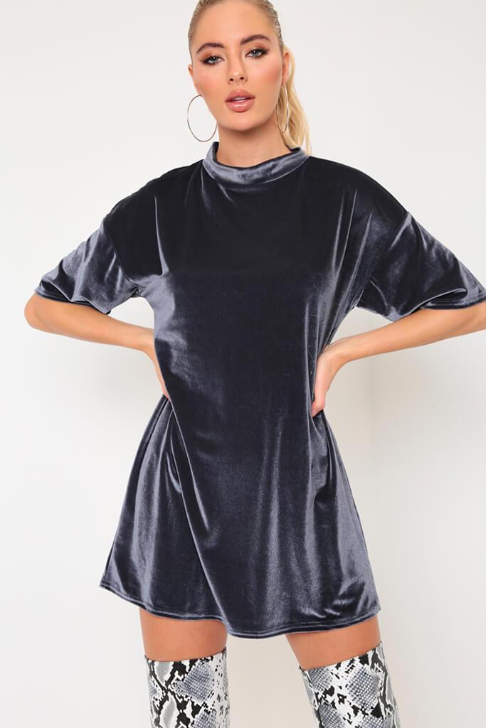 Grey Velvet T-Shirt Dress