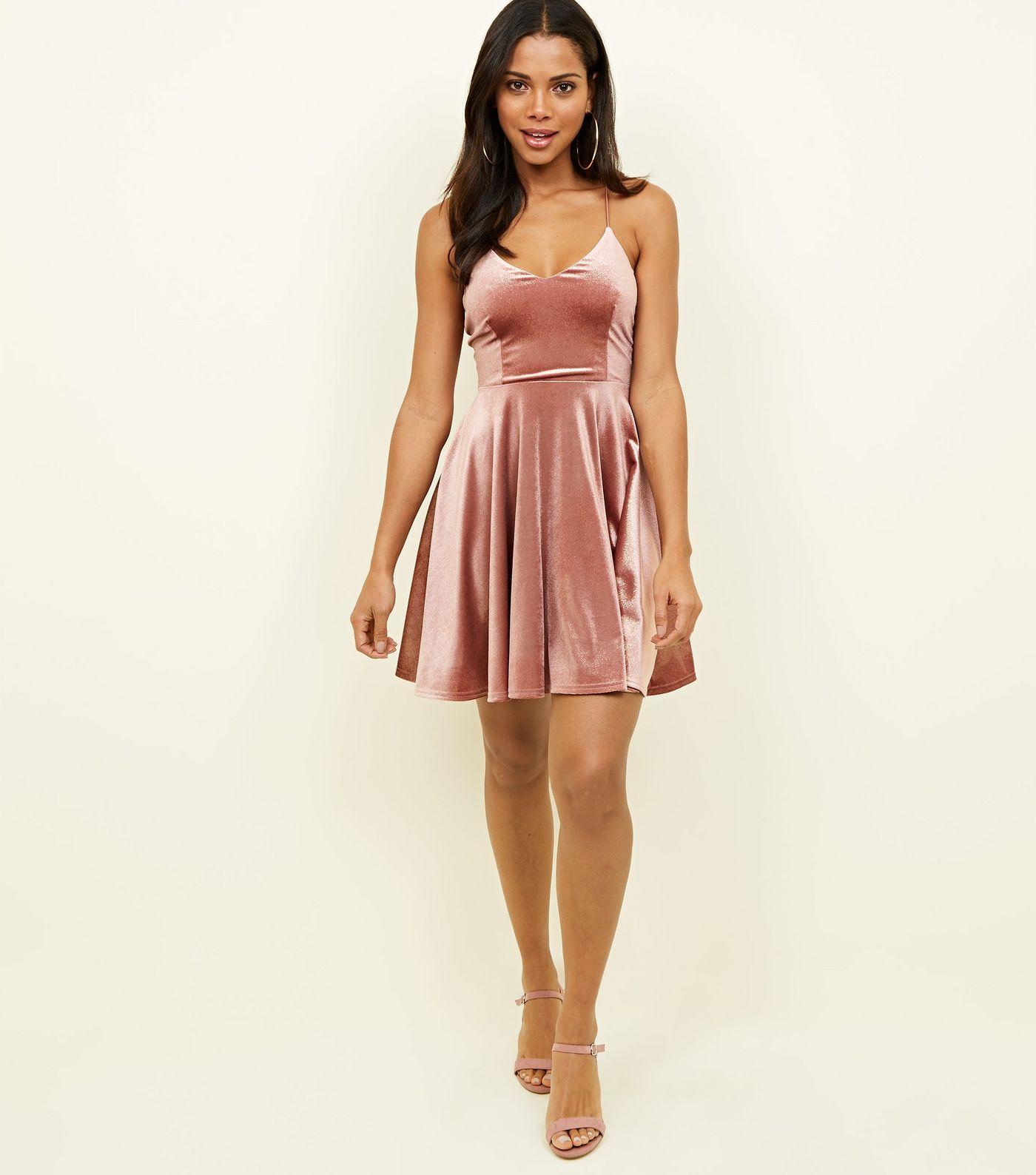 Pink Glitter Velvet Skater Dress