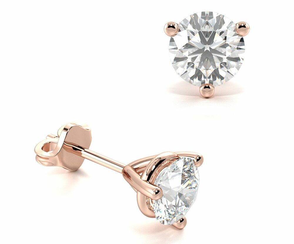 3 Claw Round Diamond Stud Earring