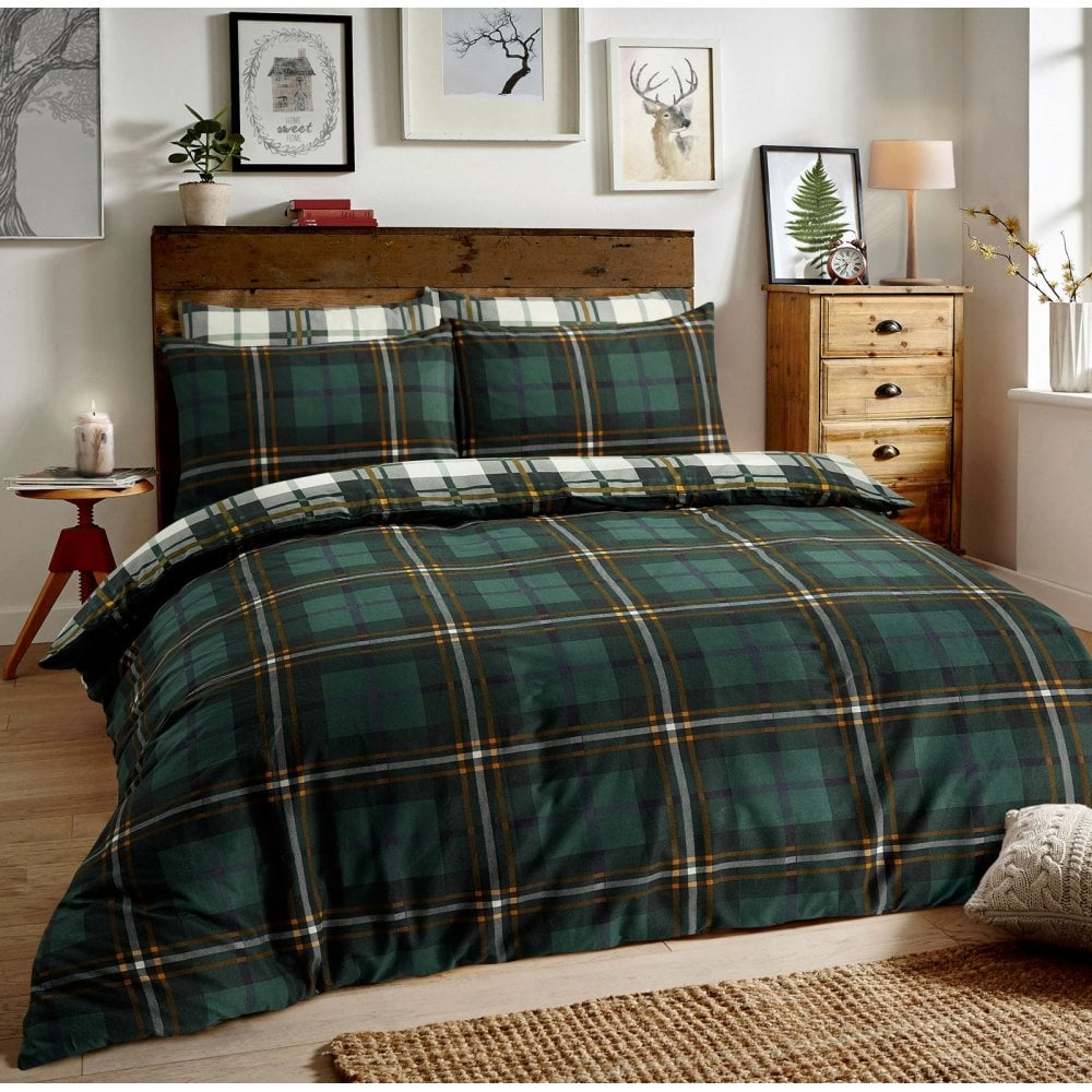 Brushed Cotton Reversible Flannel Duvet Quilt Cover