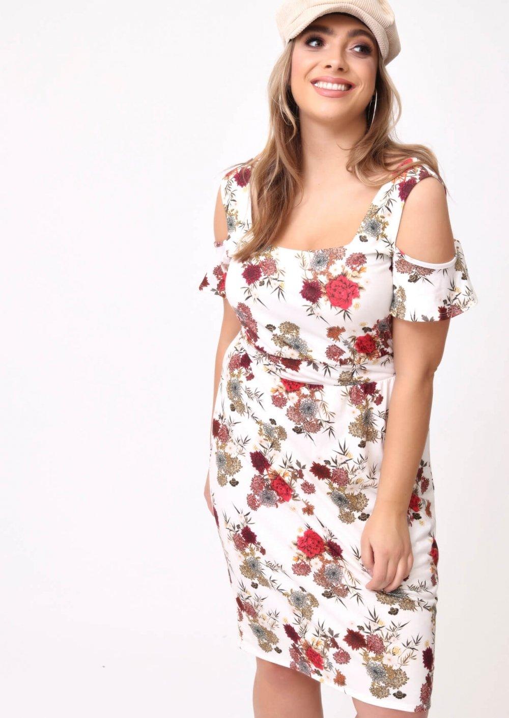 Plus Layla Printed Cold Shoulder Dress