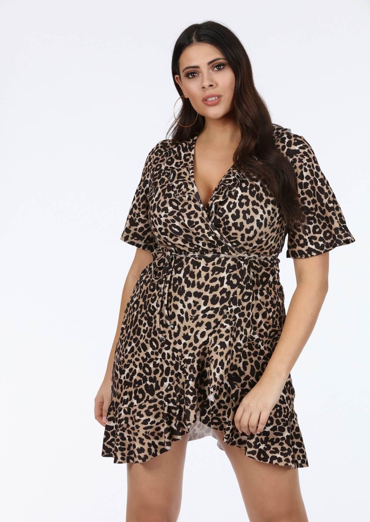 Plus Molly Frill Dress In Leopard
