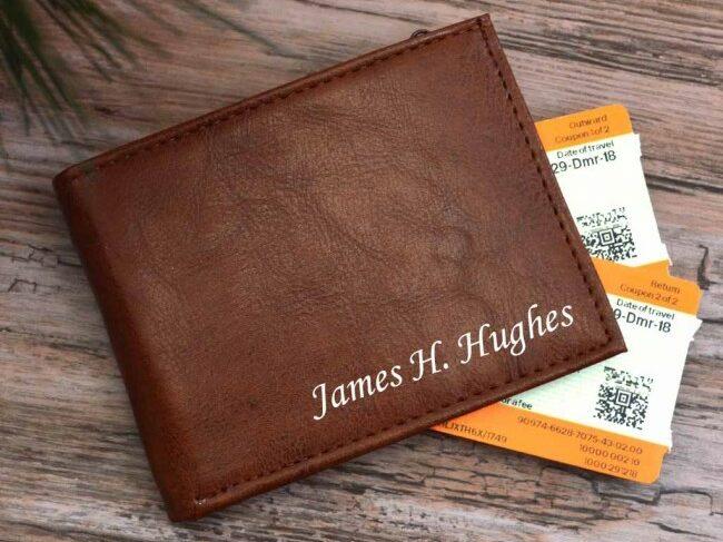 personalised wallet tanned brown