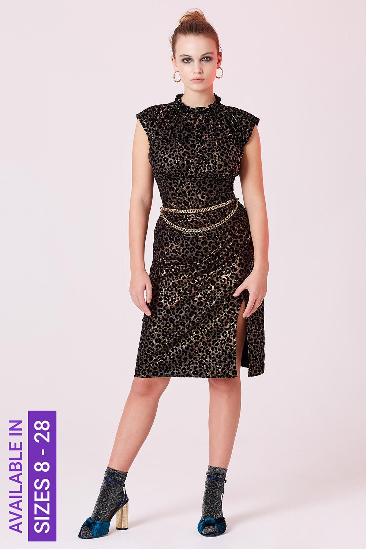 Leopard Print Velvet Burnout Dress