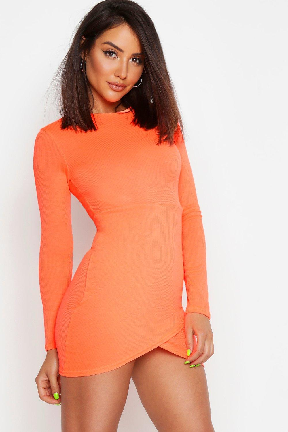 Rib Neon Long Sleeve Wrap Bodycon Dress