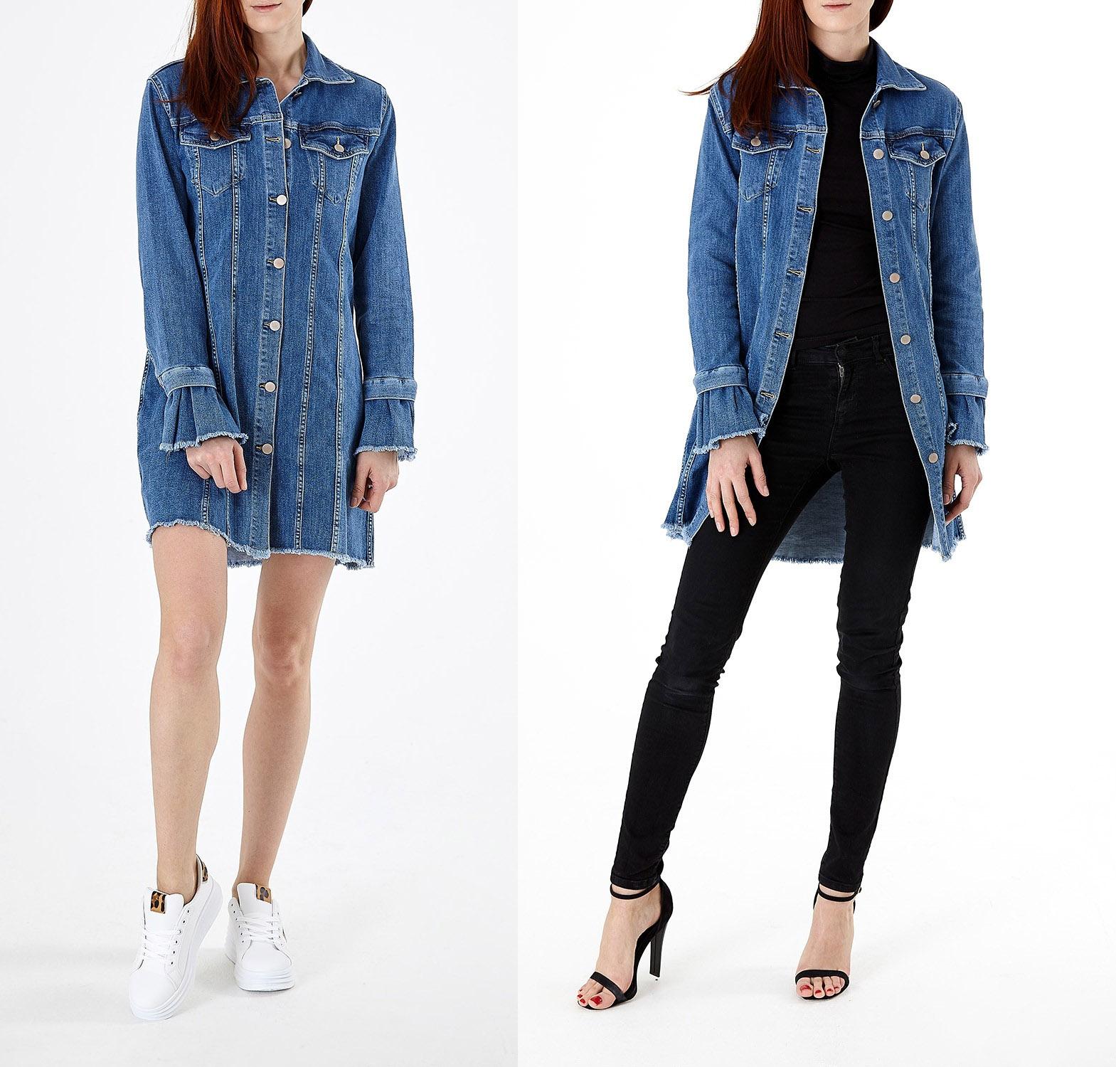 elvi fashion Denim 2 In 1 Dress Jacket
