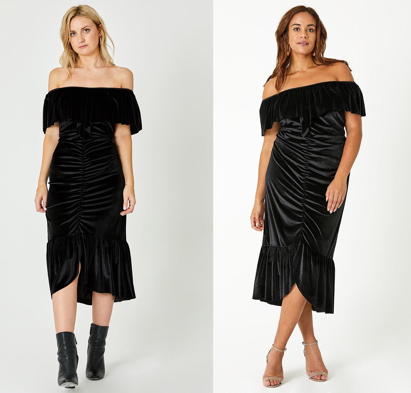 elvi fashion Ruched Velvet Bodycon Dress
