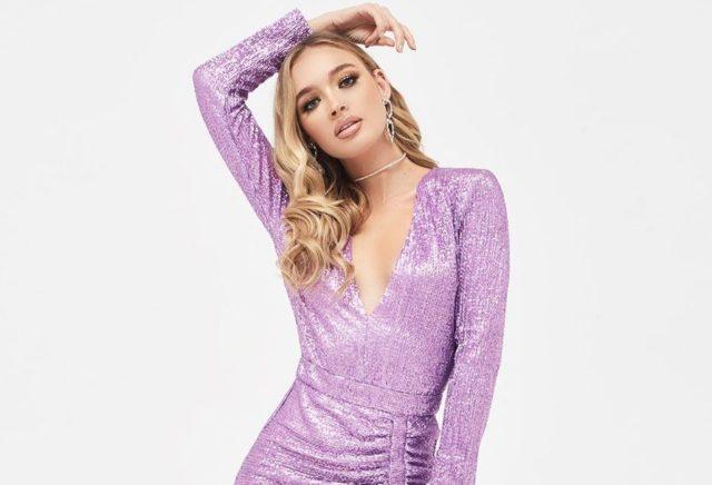 pleated sequin midi dress in lilac