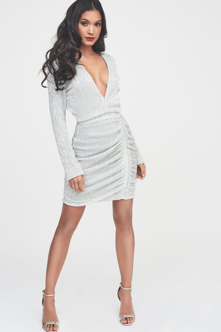 Lavish Alice Sequin Dress - silver iridescent sequin mini dress