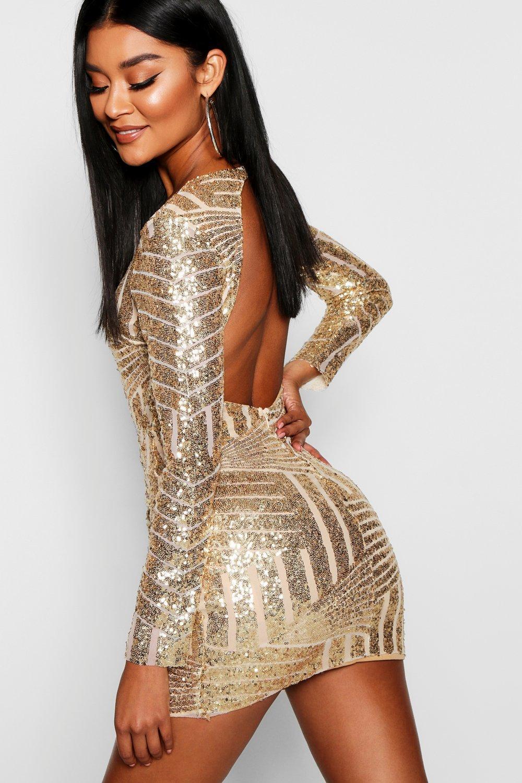 Boutique Sequin Open Back Bodycon Dress