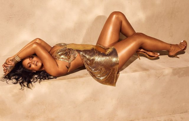 Rihanna Fenty Beauty Body Lava metallic gold dress